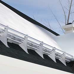 Ace Clamp 3 Rail Snow Guards Shown on Shingle Roof